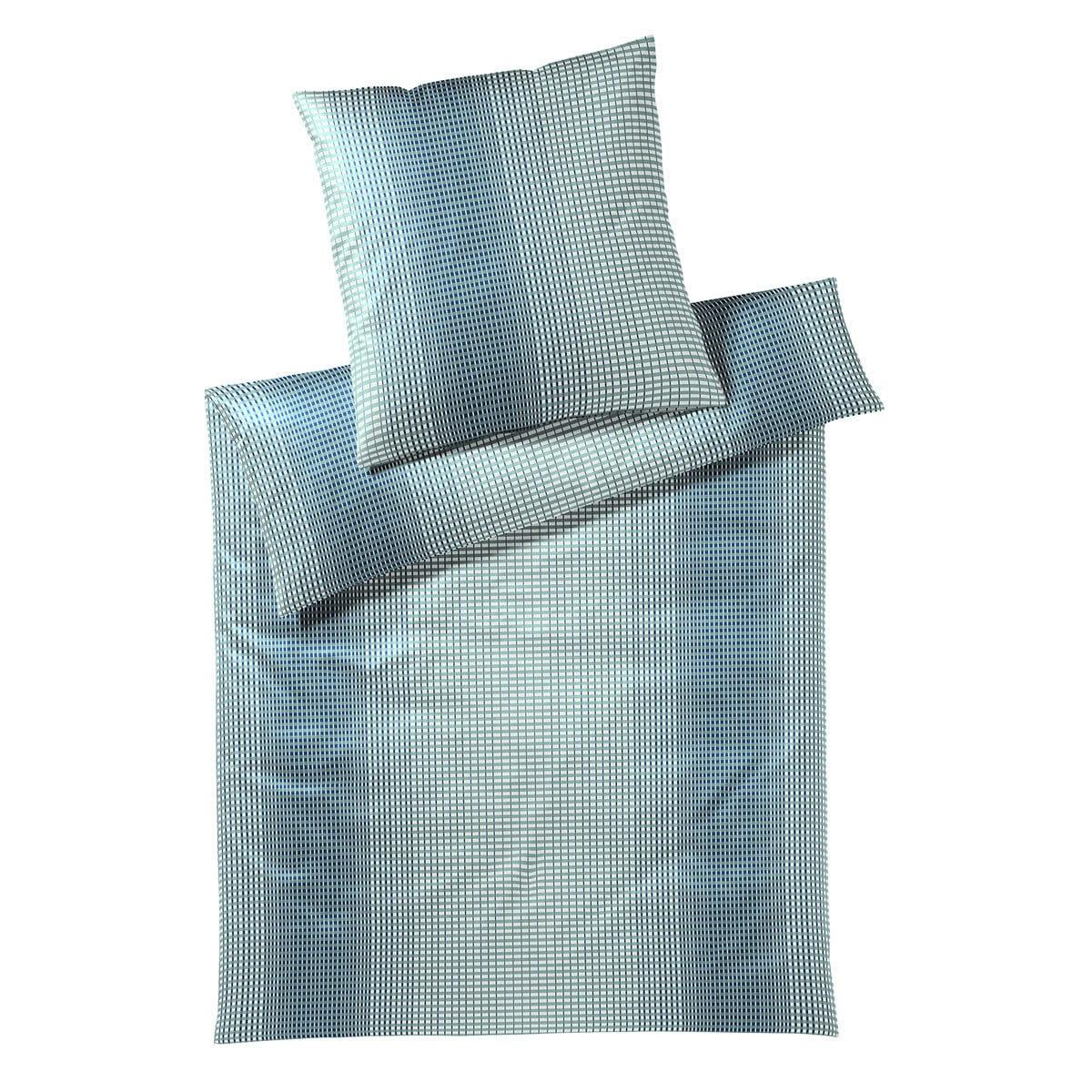 elegante Jersey Bettwäsche Grid mint-blau