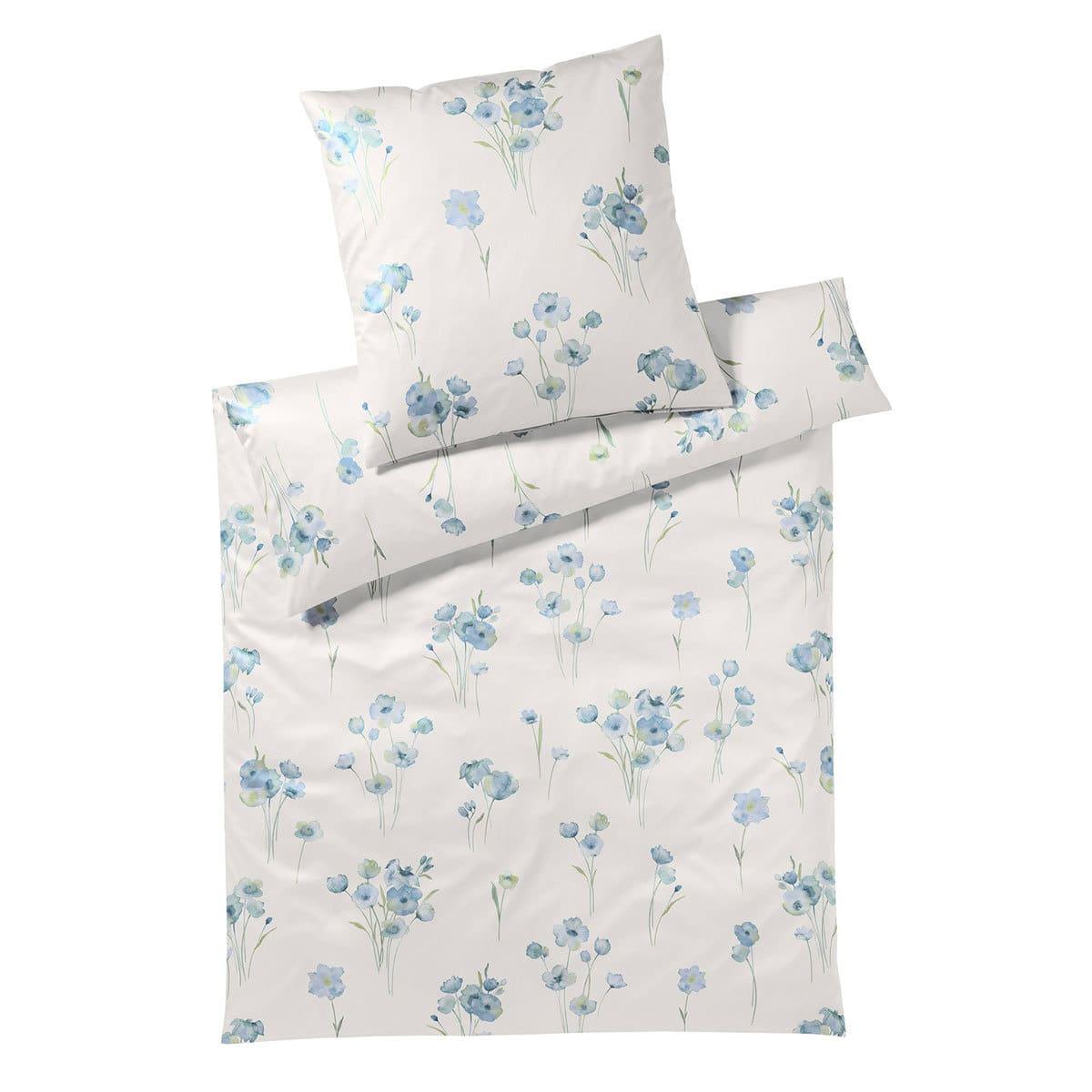 elegante Jersey Bettwäsche Poppy taubenblau