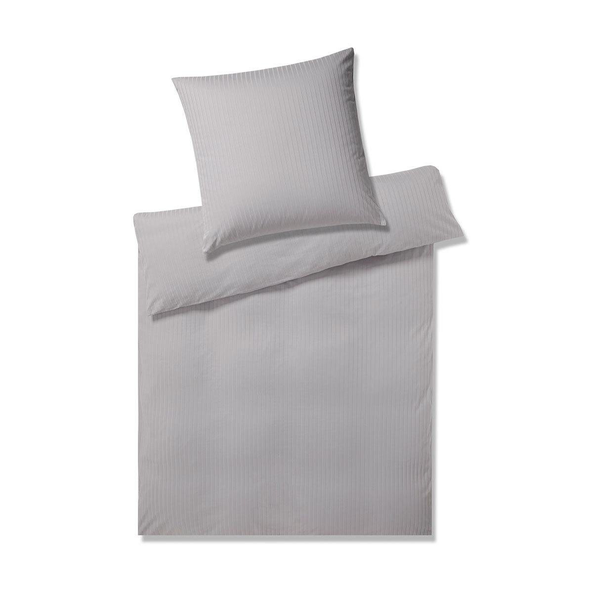 Elegante Jersey Bettwäsche Solid Stripe Greige Günstig Online Kaufen