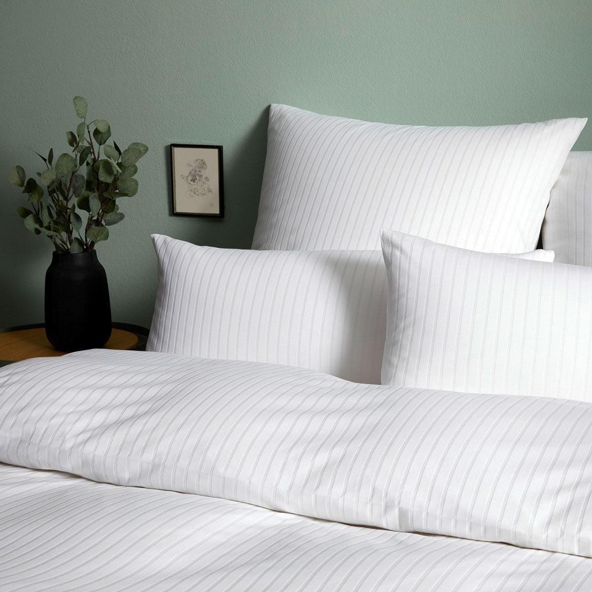 Elegante Jersey Bettwäsche Solid Stripe Weiss Günstig Online Kaufen