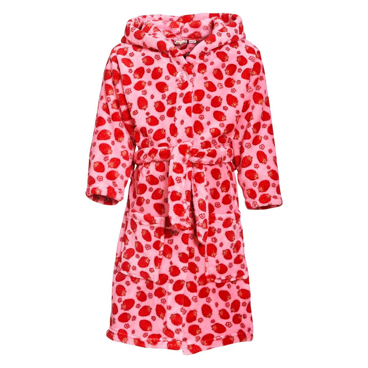 playshoes kinder fleece bademantel erdbeeren rosa g nstig online kaufen bei bettwaren shop. Black Bedroom Furniture Sets. Home Design Ideas