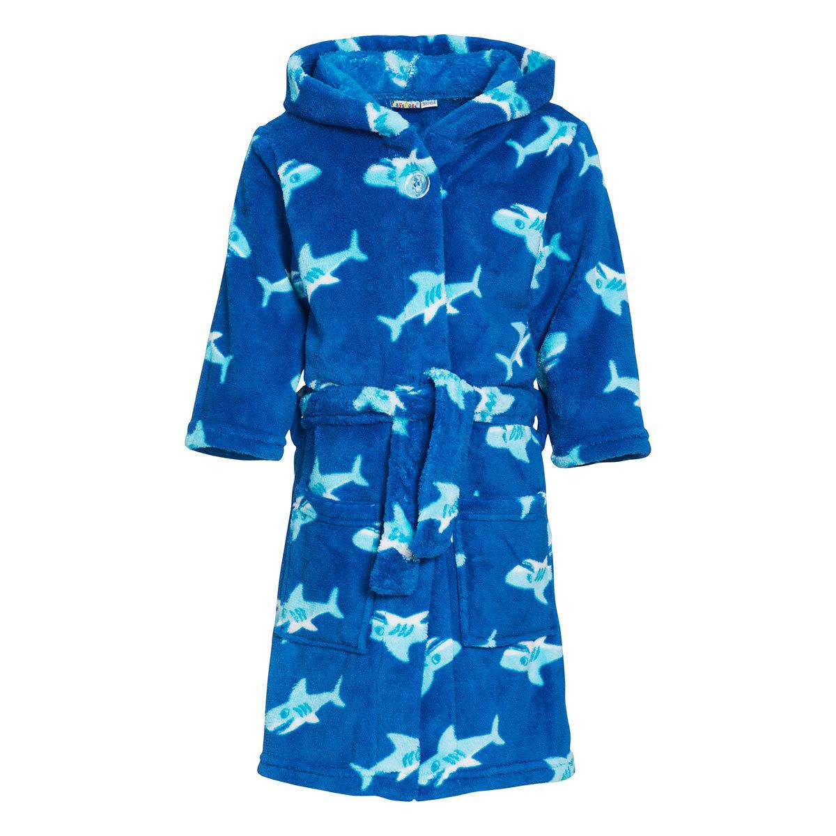 Playshoes Kinder Fleece Bademantel Hai blau