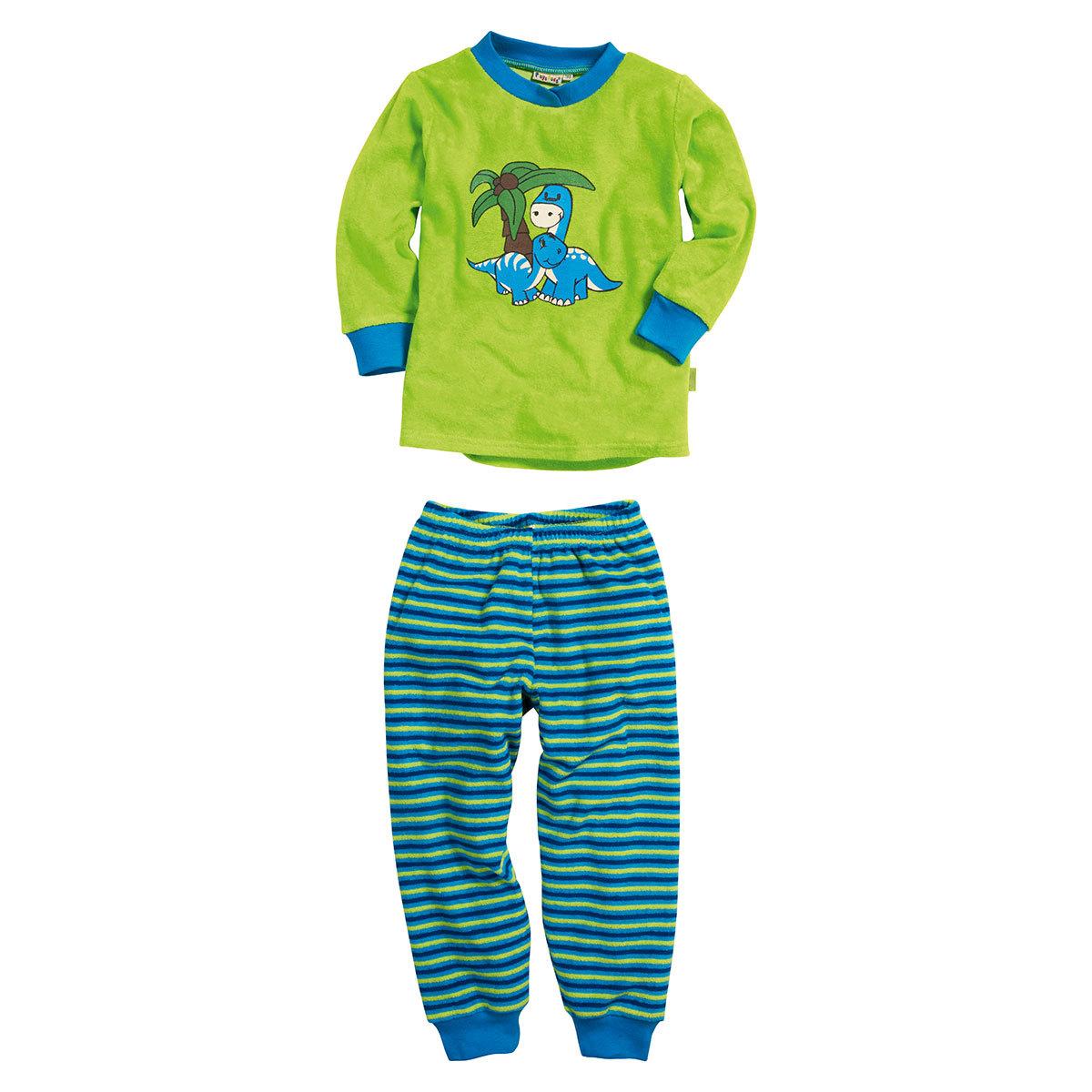 b75bfbcec546a8 Playshoes Kinder Frottee Schlafanzug Dino grün günstig online kaufen ...