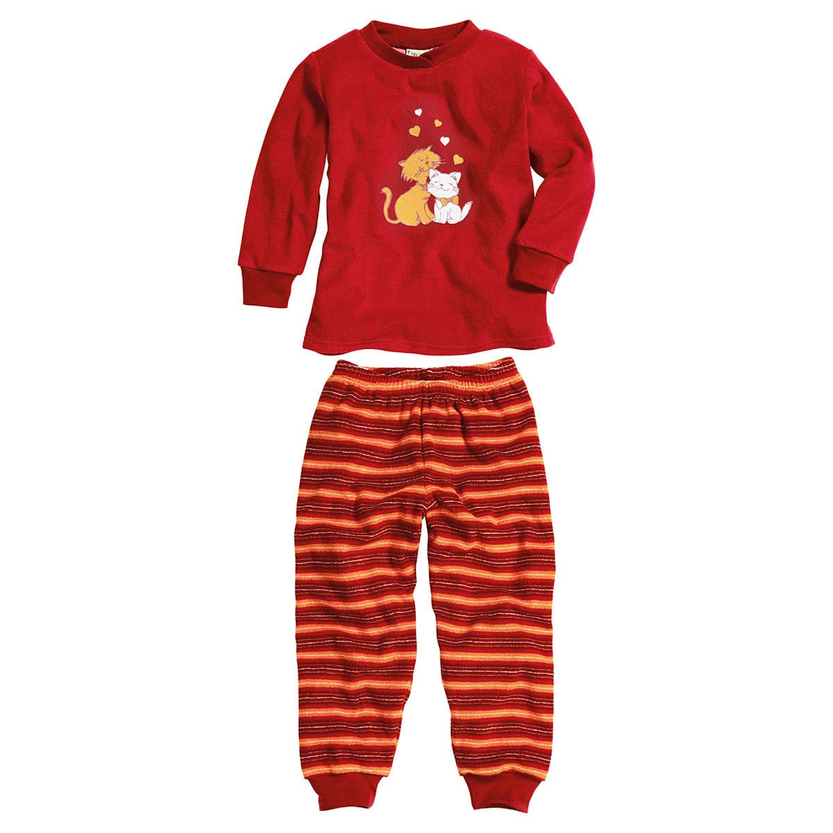 Playshoes Kinder Frottee Schlafanzug Katzen rot