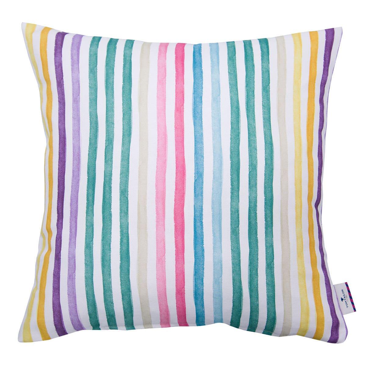 Tom Tailor Kissenhülle Rainbow Stripes multi/weiß