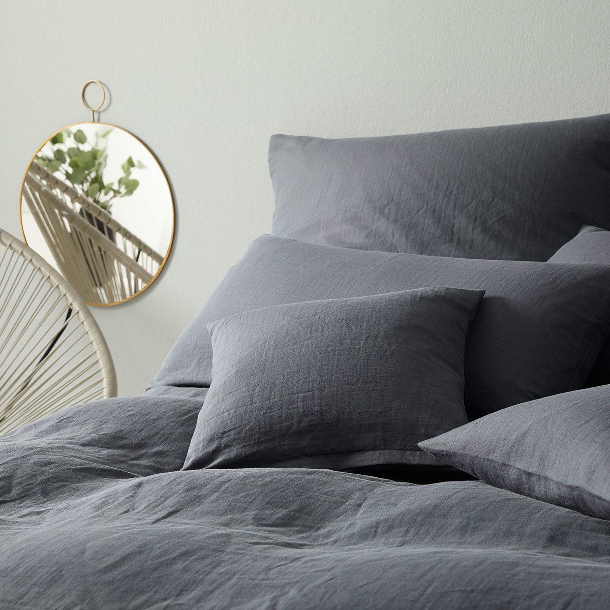 Elegante Leinen Bettwäsche Breeze Anthrazit Günstig Online Kaufen