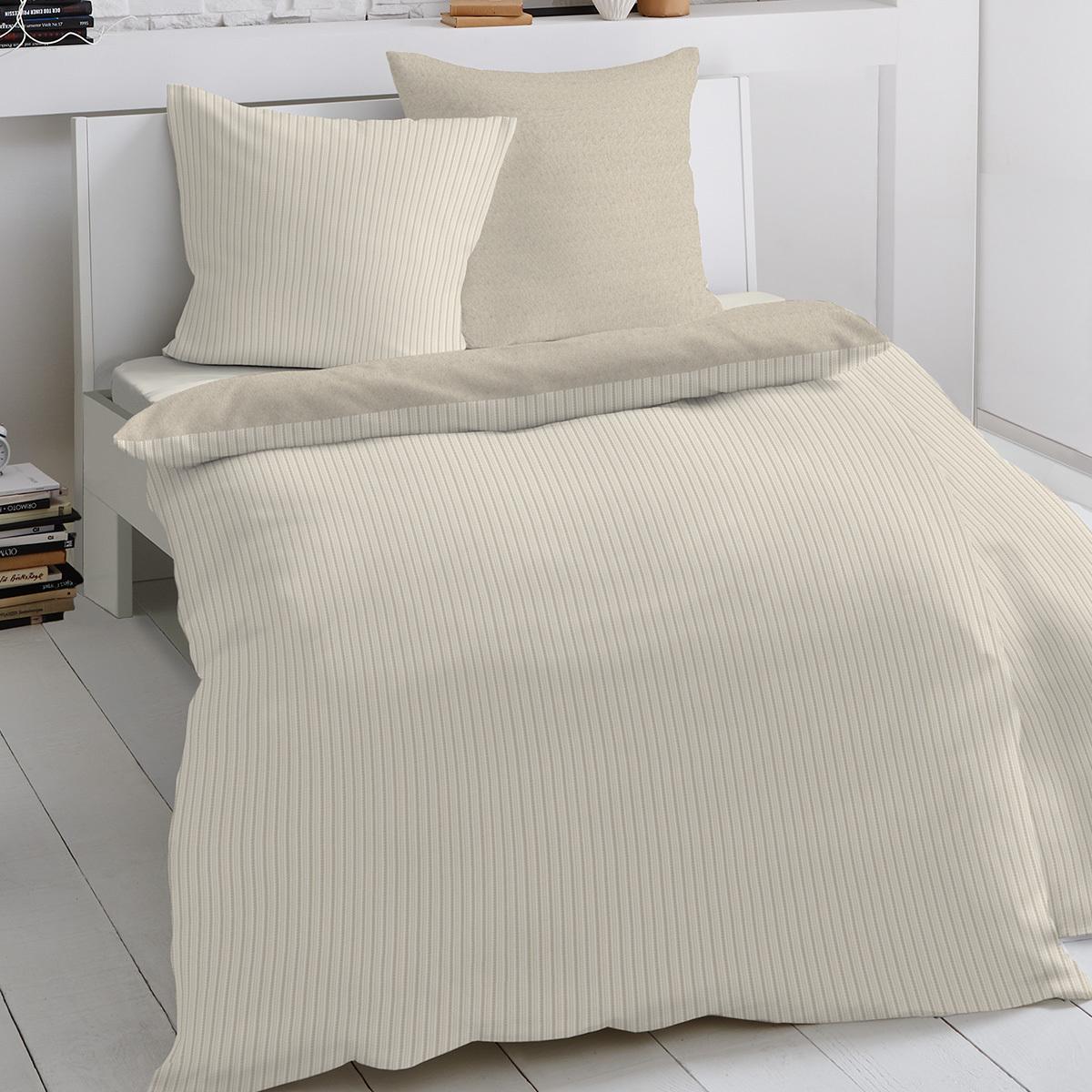 traumschlaf leinen flanell wendebettw sche streifen beige g nstig online kaufen bei bettwaren shop. Black Bedroom Furniture Sets. Home Design Ideas