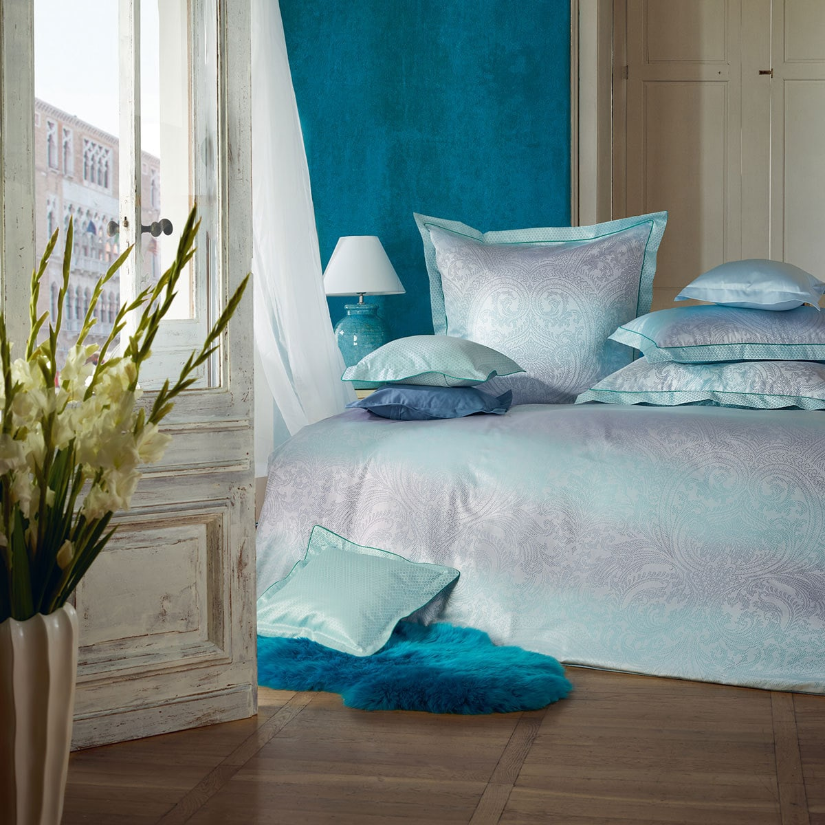 curt bauer mako brokat damast wendebettw sche aurora t rkis blau g nstig online kaufen bei. Black Bedroom Furniture Sets. Home Design Ideas