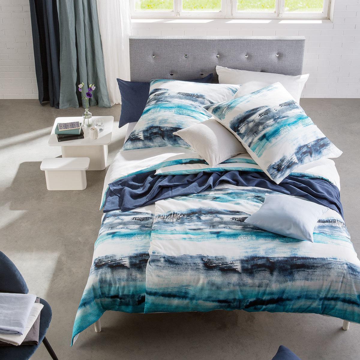 Mako Satin Bettwasche 155x220 Blau Preisvergleich Die Besten