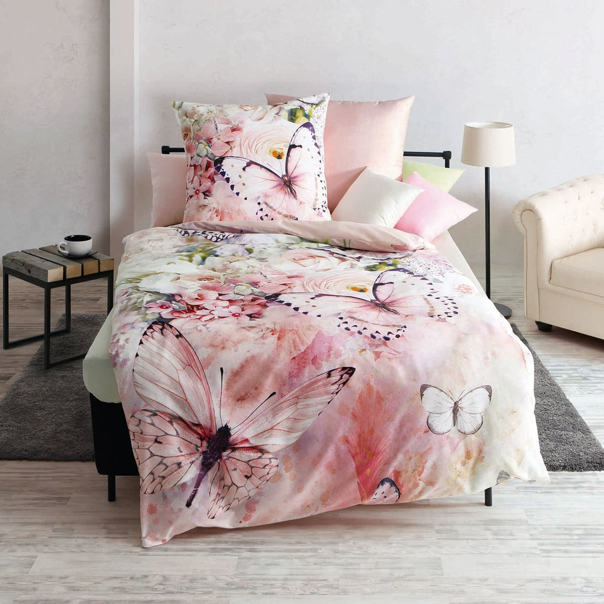 Kaeppel Mako Satin Bettwäsche Butterfly Dreams Rose Günstig Online