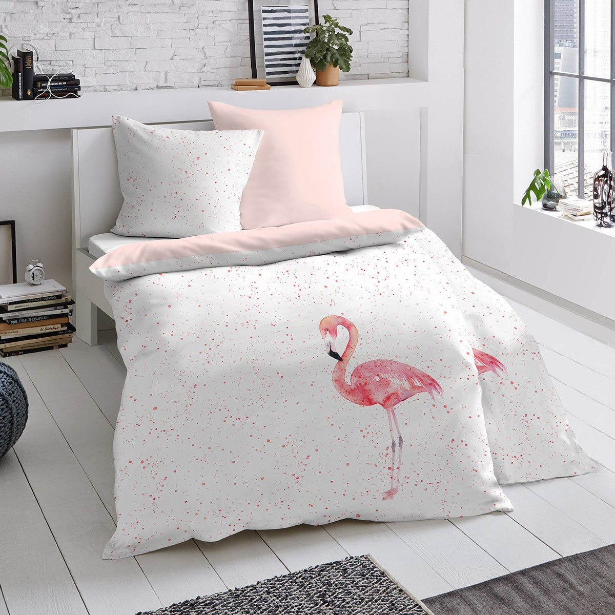 dormisette mako satin bettw sche flamingo g nstig online kaufen bei bettwaren shop. Black Bedroom Furniture Sets. Home Design Ideas