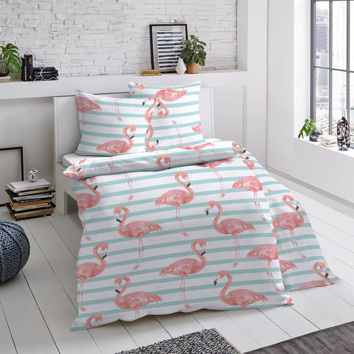 Dormisette Mako-Satin Bettwäsche Flamingo