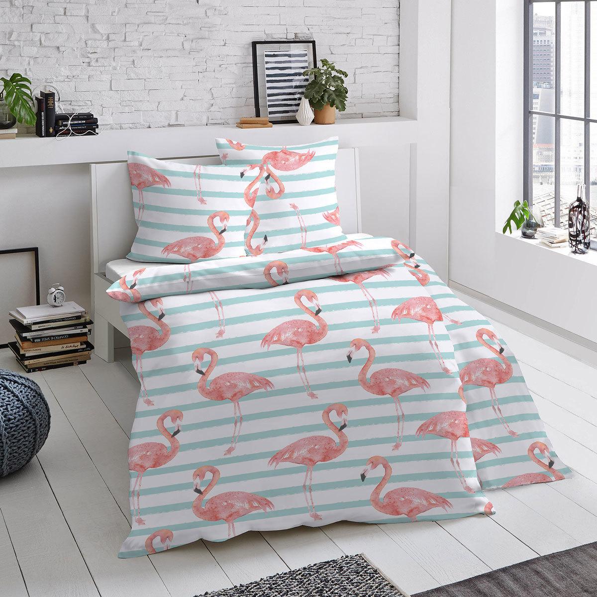 dormisette mako satin bettw sche flamingo hausrobinson. Black Bedroom Furniture Sets. Home Design Ideas