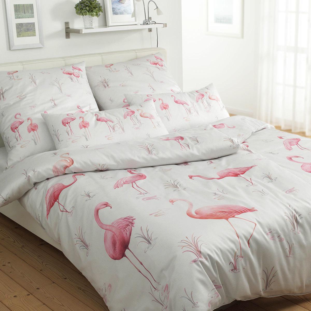 Elegante Mako Satin Bettwäsche Flamingo Ecru Günstig Online Kaufen