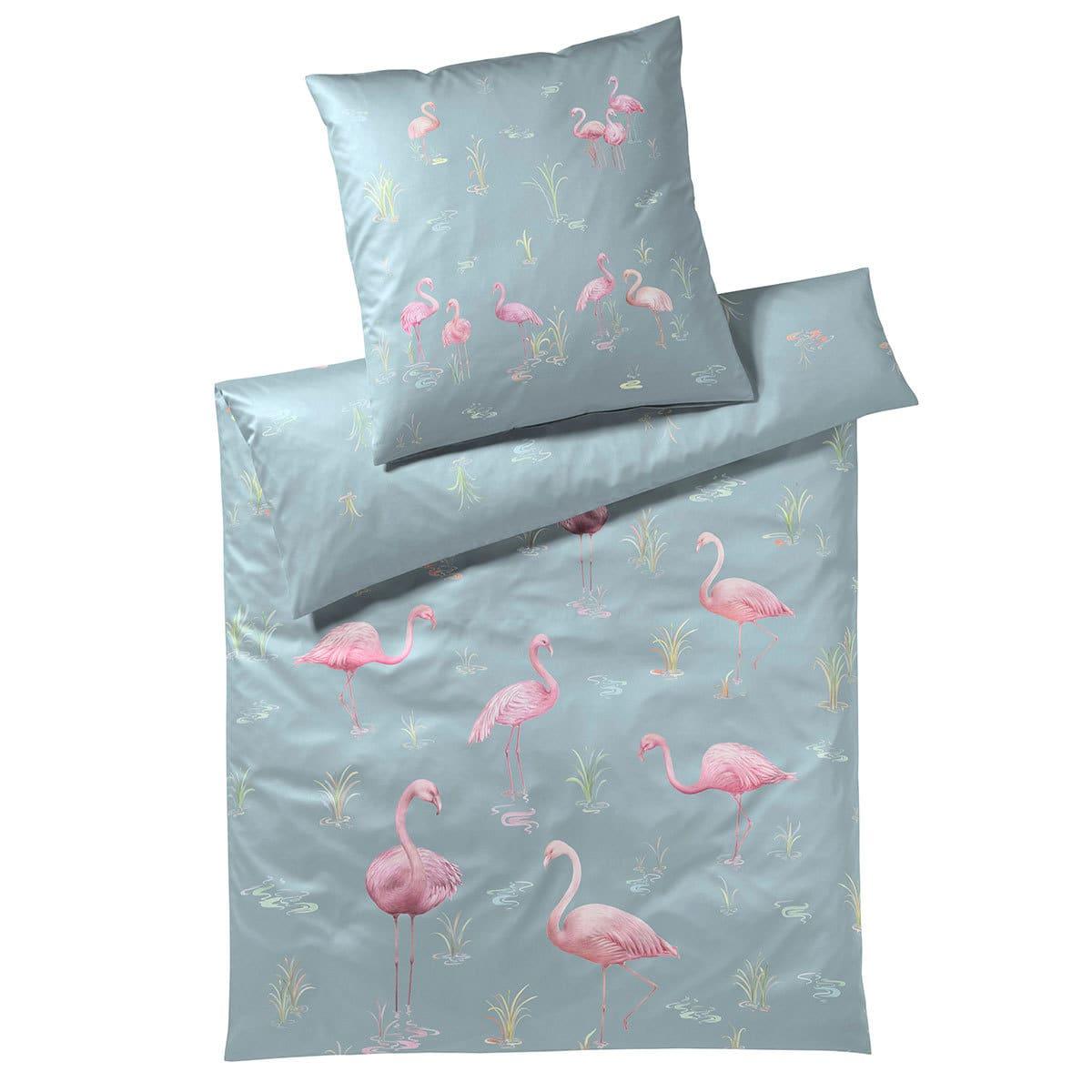 elegante Mako-Satin Bettwäsche Flamingo taubenblau