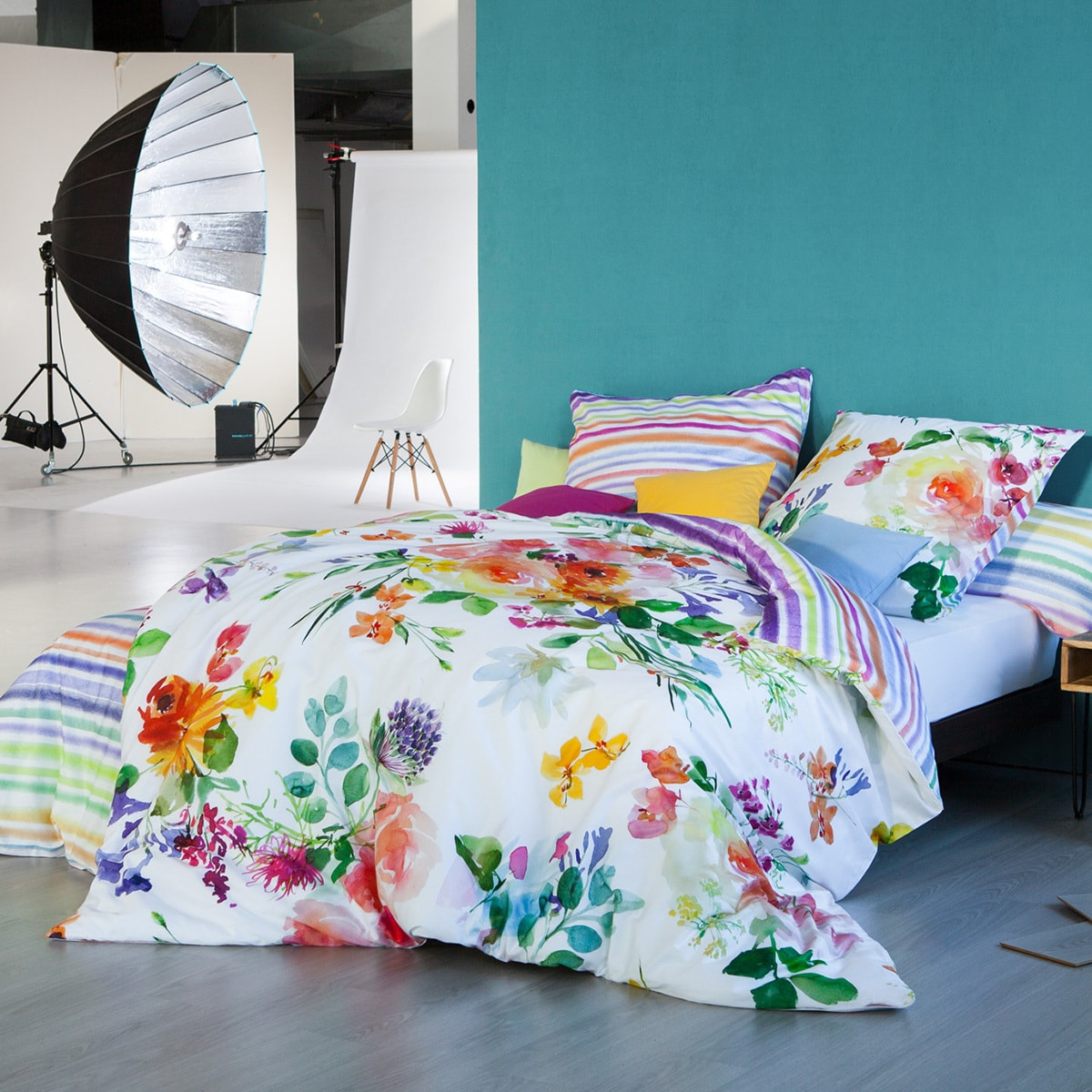 Estella Mako Satin Bettwäsche Flower Power Multicolor Günstig Online
