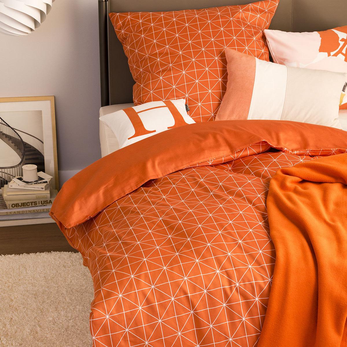 sch ner wohnen mako satin bettw sche grid flamingo g nstig online kaufen bei bettwaren shop. Black Bedroom Furniture Sets. Home Design Ideas