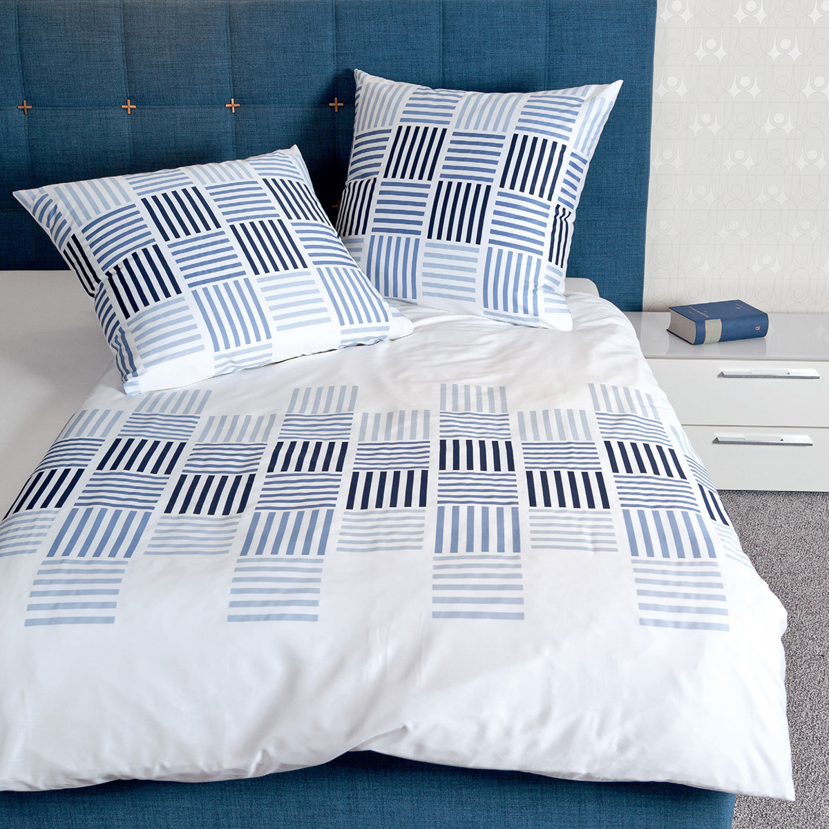 janine mako satin bettw sche j d 87025 02 blau g nstig. Black Bedroom Furniture Sets. Home Design Ideas