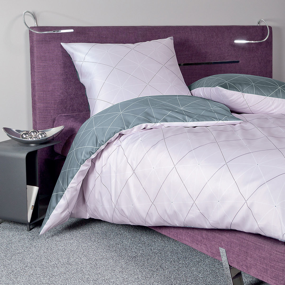 janine mako satin bettw sche j d 87026 01 kreiderose silber g nstig online kaufen bei bettwaren. Black Bedroom Furniture Sets. Home Design Ideas