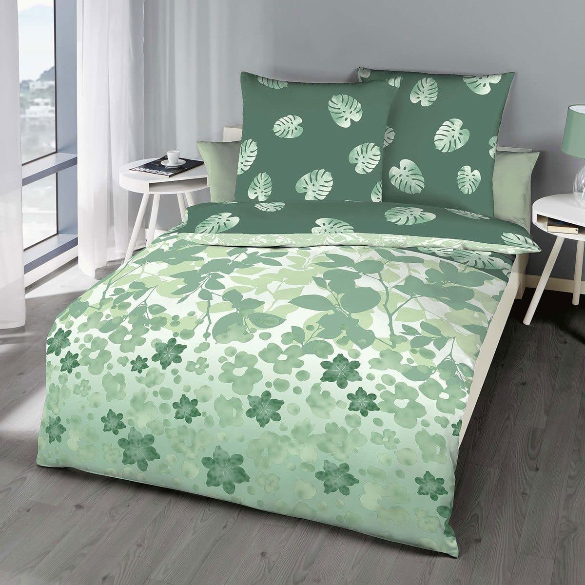 Kaeppel Mako-Satin Bettwäsche Jungle Flower jade