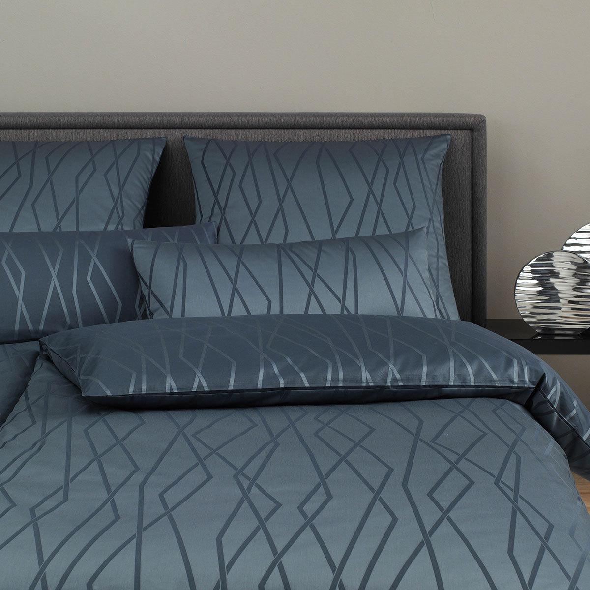 elegante Mako-Satin Bettwäsche Mirage nachtblau