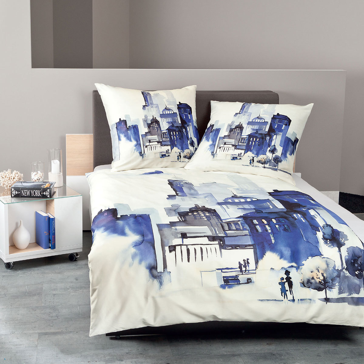 janine mako satin bettw sche modern art 42025 02 blau g nstig online kaufen bei bettwaren shop. Black Bedroom Furniture Sets. Home Design Ideas