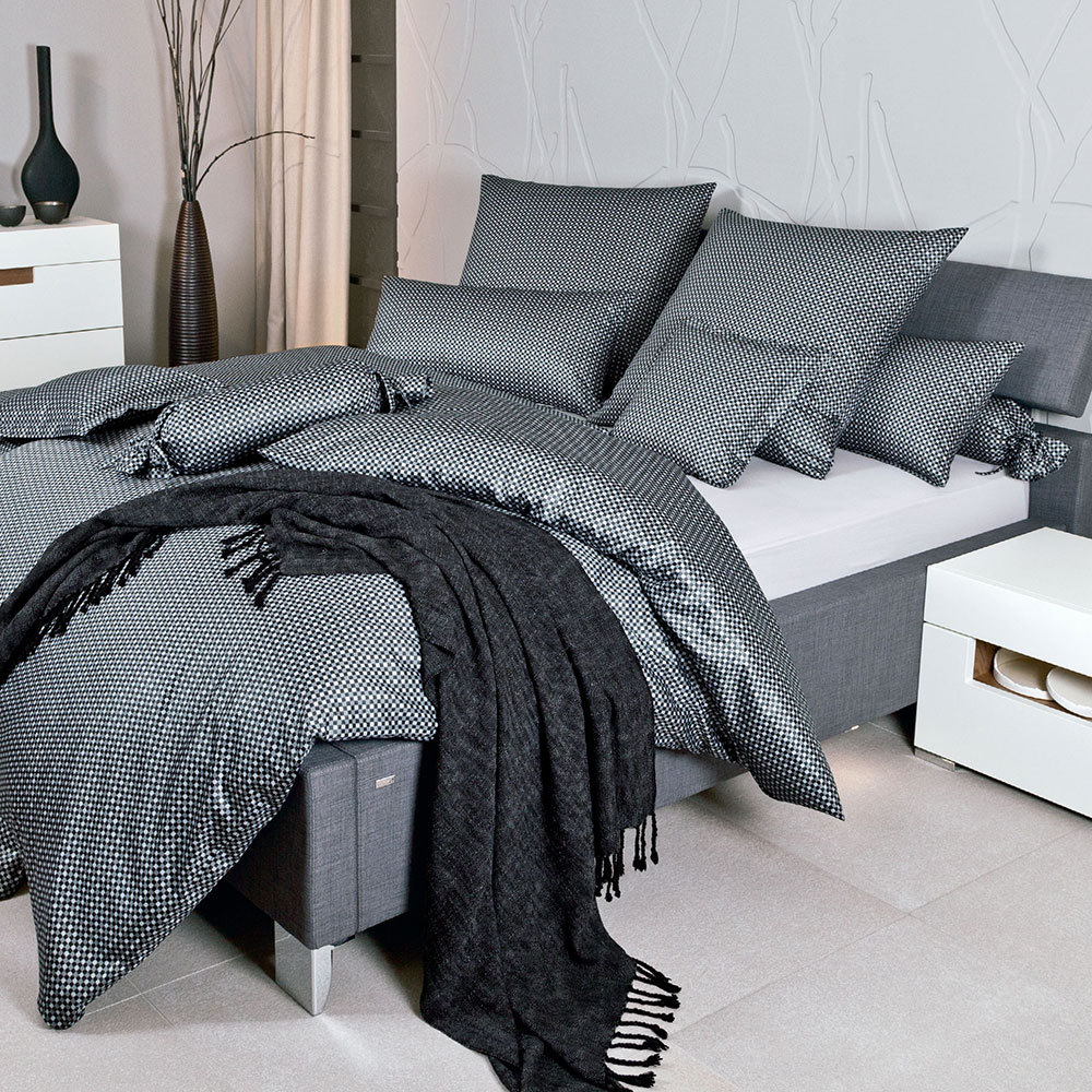 janine mako satin bettw sche modern classic karo schwarz. Black Bedroom Furniture Sets. Home Design Ideas