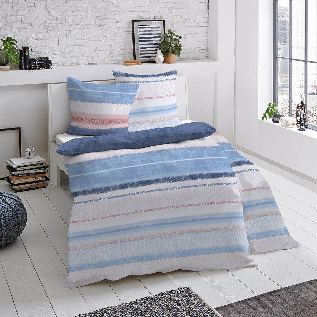 dormisette mako satin bettw sche montreal blau grau hausrobinson. Black Bedroom Furniture Sets. Home Design Ideas
