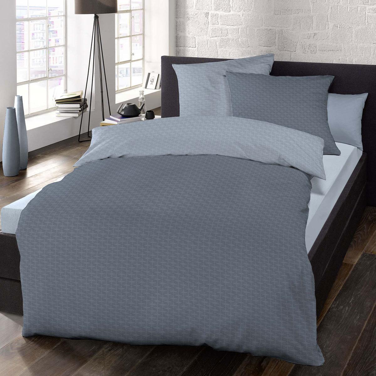 mako satin bettw sche 155x220 blau preisvergleich die besten angebote online kaufen. Black Bedroom Furniture Sets. Home Design Ideas