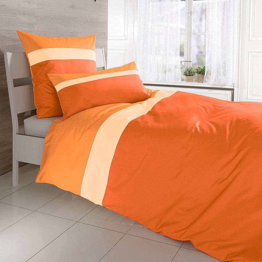 Bettwarenshop Mako Satin Bettwäsche Orangevanillemandarin Günstig