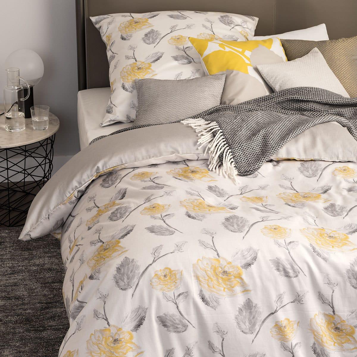 sch ner wohnen mako satin bettw sche orelia gelb g nstig. Black Bedroom Furniture Sets. Home Design Ideas