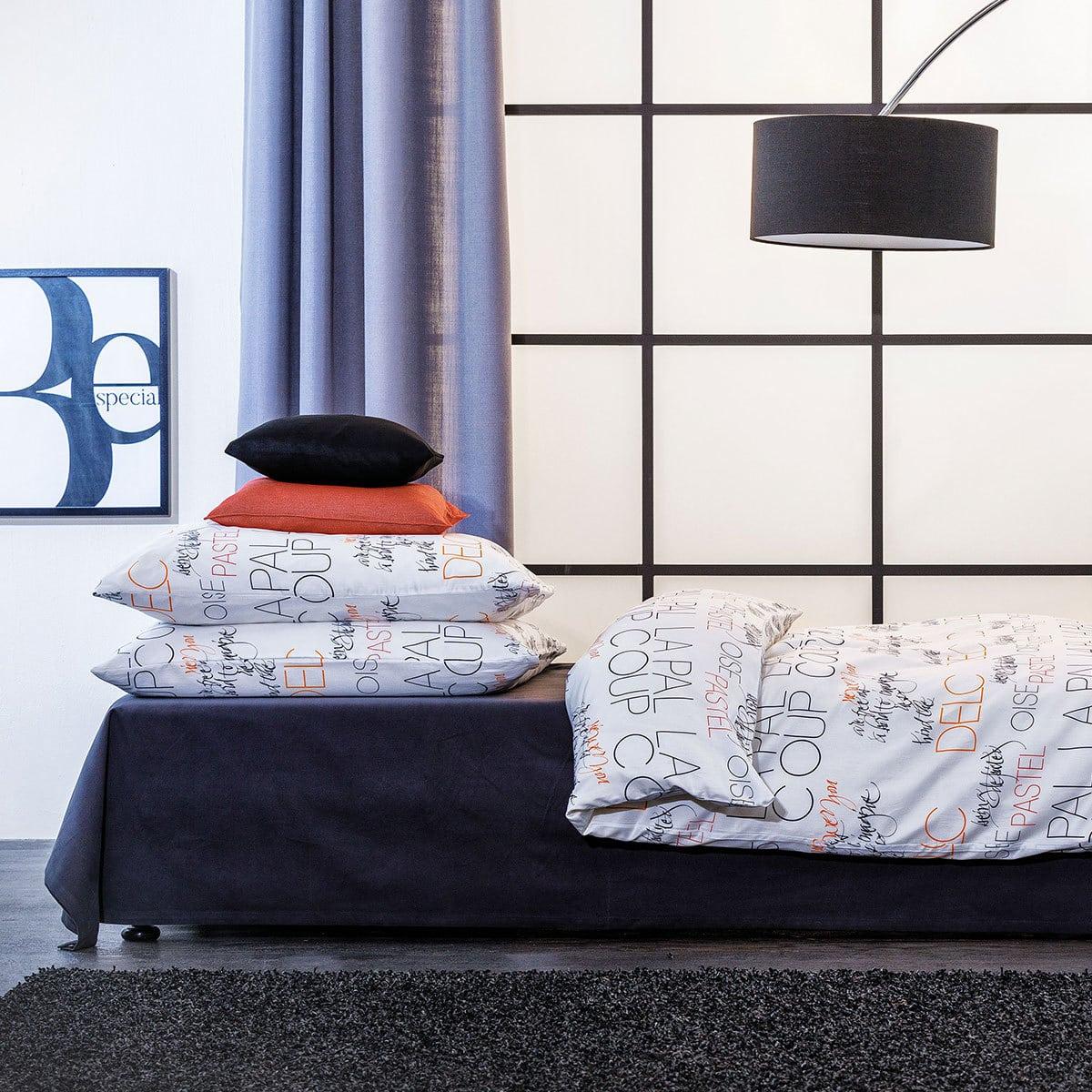apelt mako satin bettw sche oskar weiss schwarz orange g nstig online kaufen bei bettwaren shop. Black Bedroom Furniture Sets. Home Design Ideas