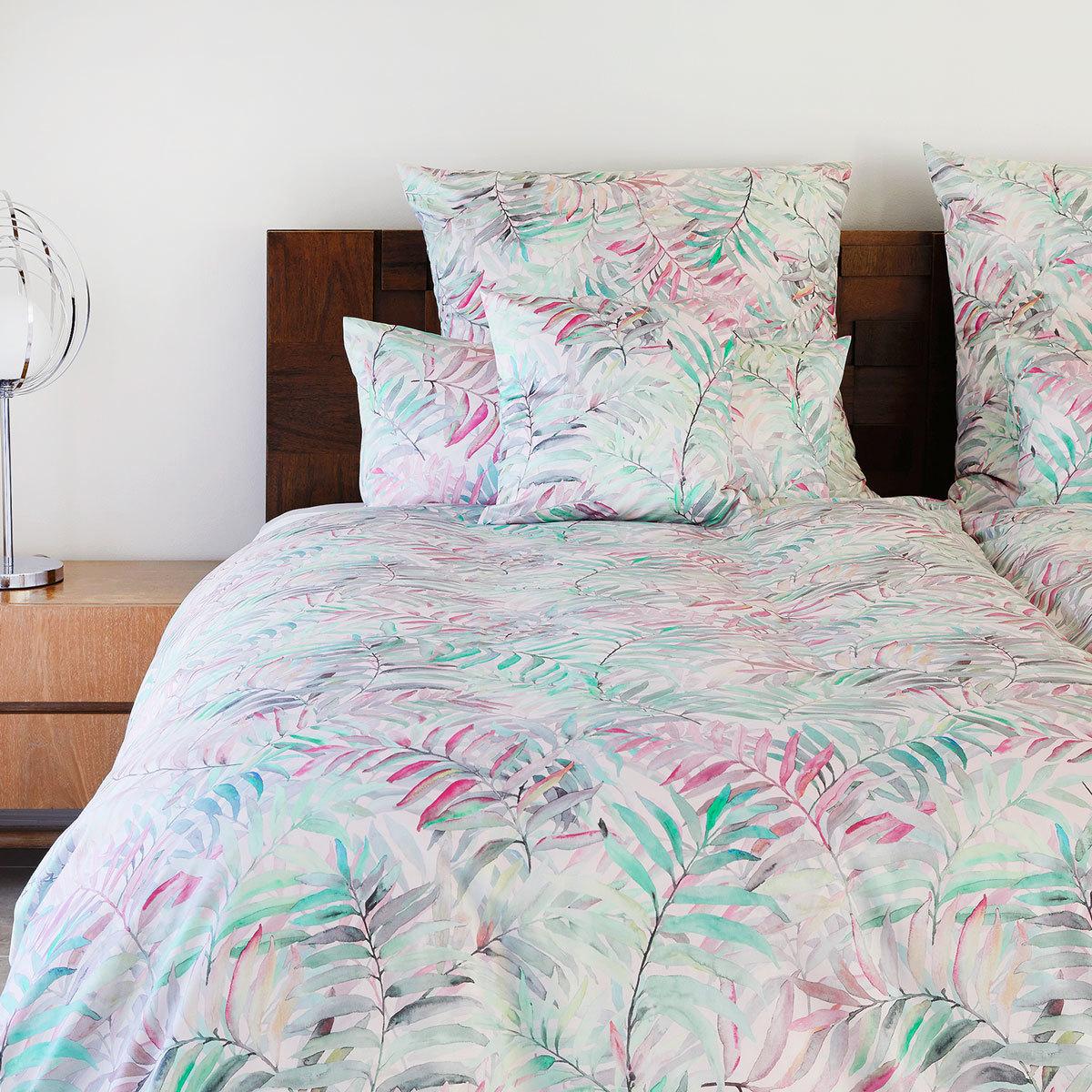 elegante Mako-Satin Bettwäsche Palm Leaves pink