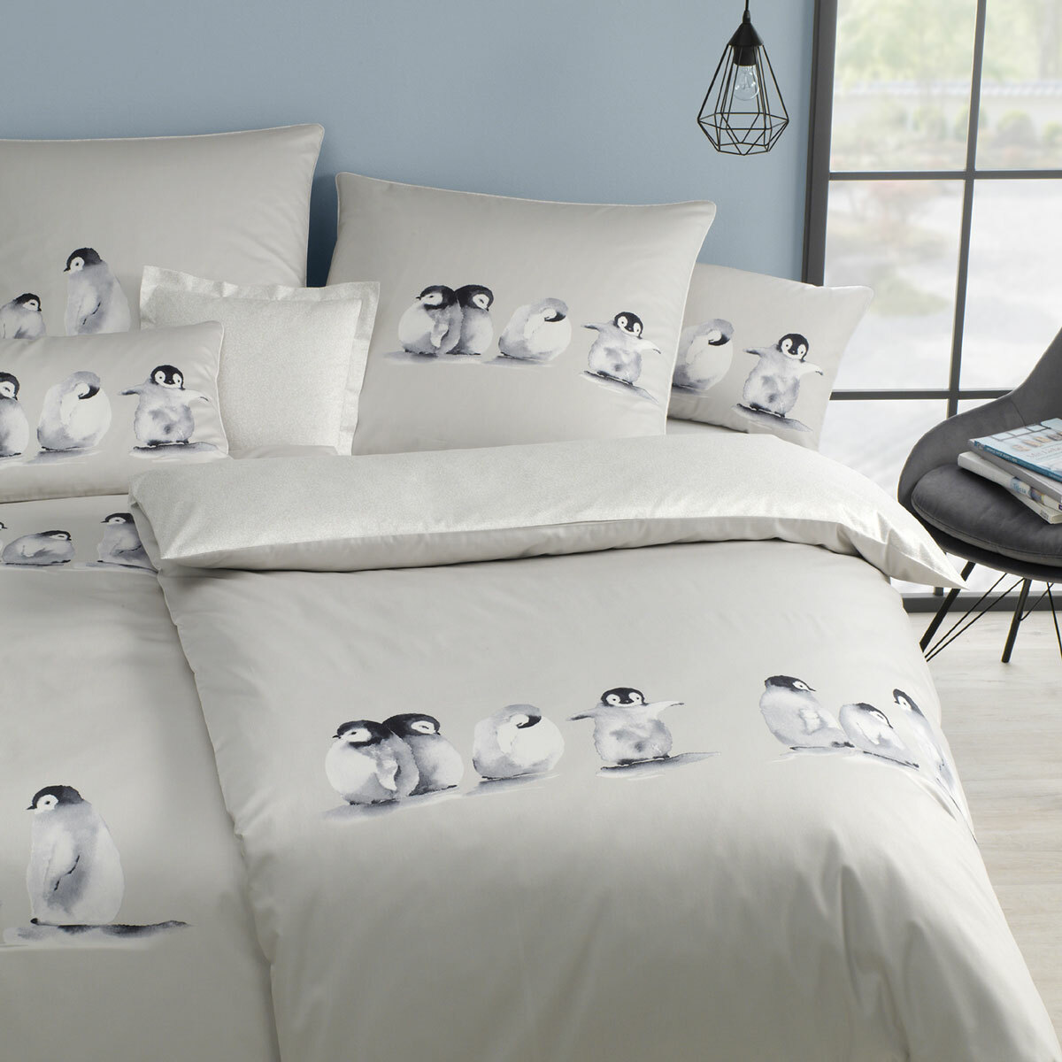 elegante Mako-Satin Bettwäsche Pinguin natur