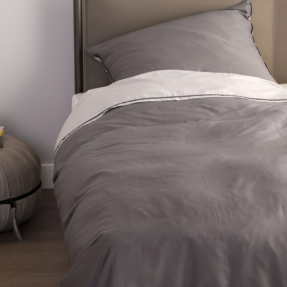 sch ner wohnen mako satin bettw sche pure sand anthrazit. Black Bedroom Furniture Sets. Home Design Ideas
