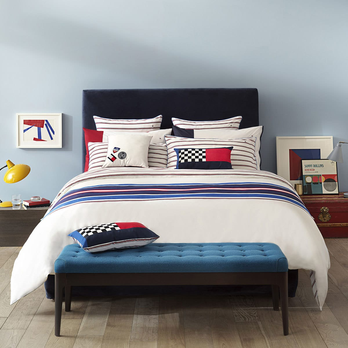 tommy hilfiger mako satin bettw sche racer wei g nstig online kaufen bei bettwaren shop. Black Bedroom Furniture Sets. Home Design Ideas