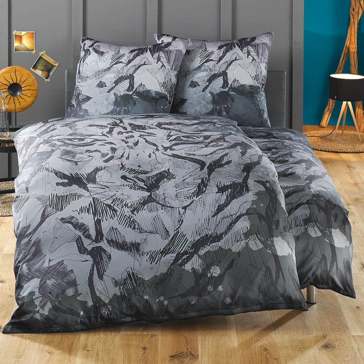 lorena mako satin bettw sche sheela anthrazit g nstig online kaufen bei bettwaren shop. Black Bedroom Furniture Sets. Home Design Ideas