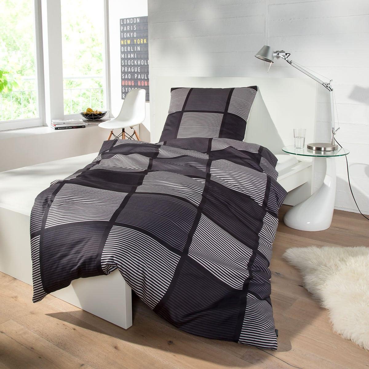 bugatti mako satin bettw sche squares black g nstig online kaufen bei bettwaren shop. Black Bedroom Furniture Sets. Home Design Ideas