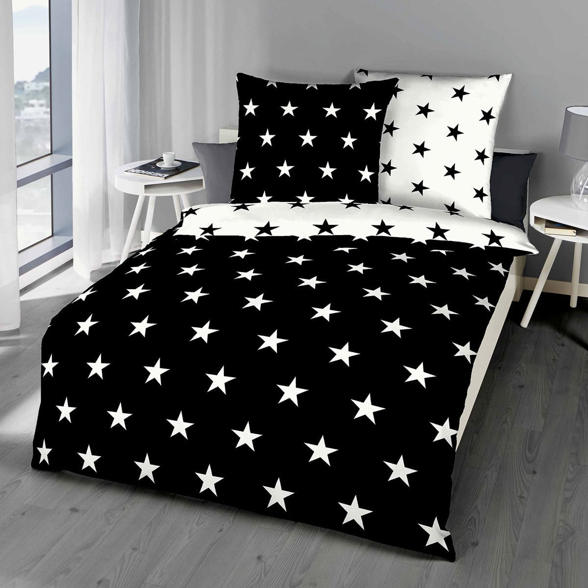 bettwarenshop mako satin bettw sche stars schwarz g nstig. Black Bedroom Furniture Sets. Home Design Ideas