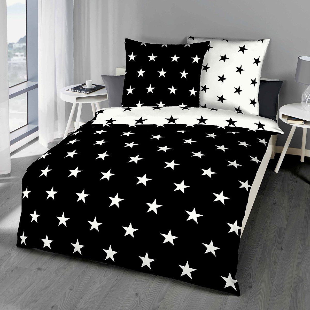 bettwarenshop mako satin bettw sche stars schwarz g nstig online kaufen bei bettwaren shop. Black Bedroom Furniture Sets. Home Design Ideas