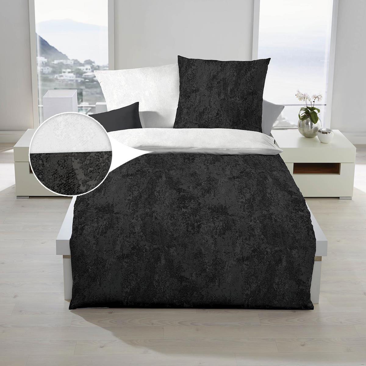 BettwarenShop Mako-Satin Bettwäsche Texture schwarz