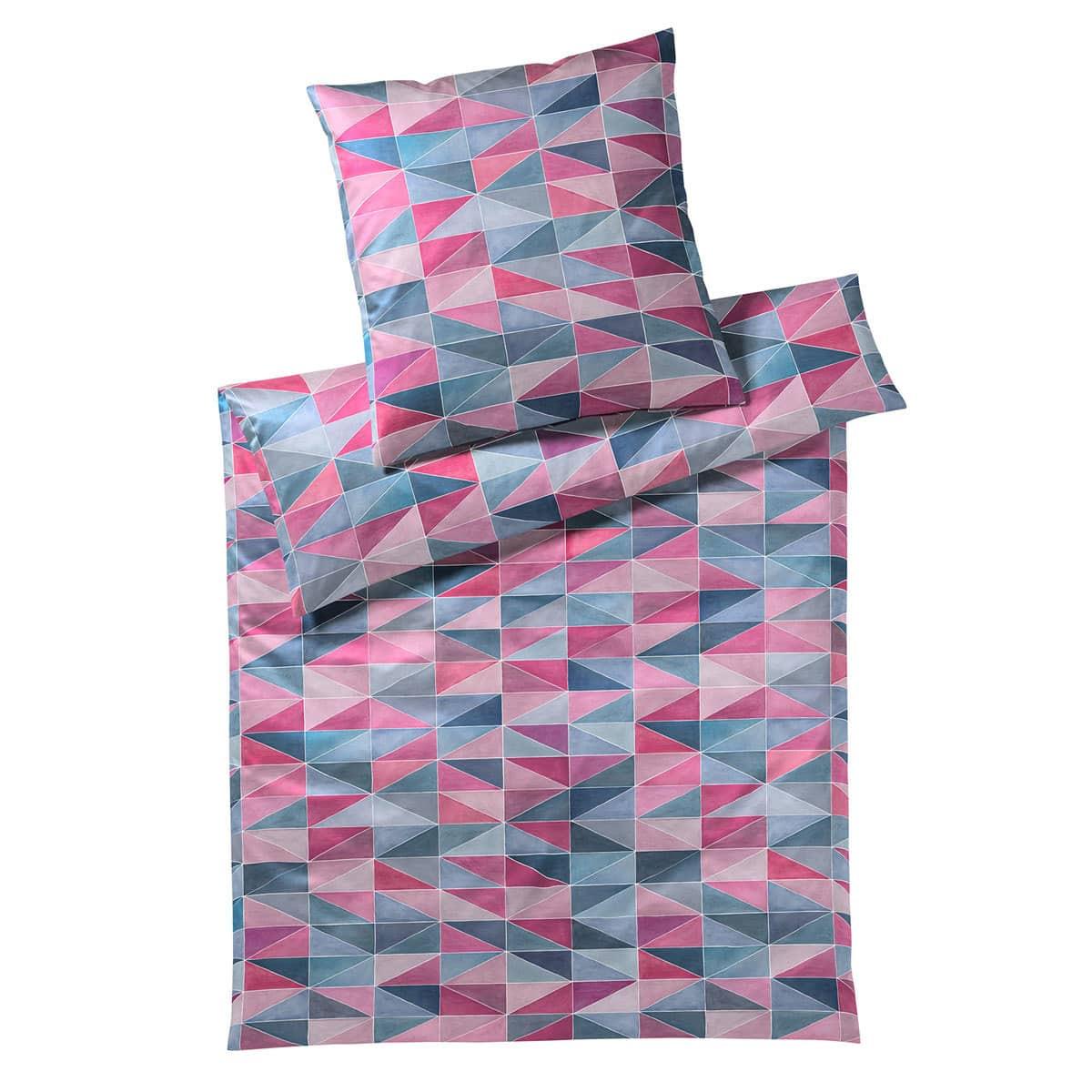 elegante Mako-Satin Bettwäsche Triangle pink