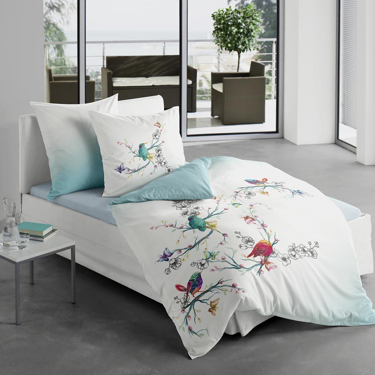 Traumschlaf Mako-Satin Bettwäsche Vögelchen