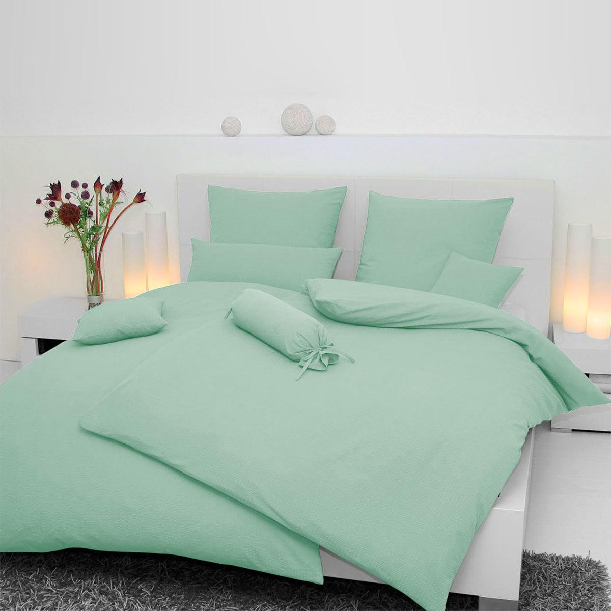 janine mako soft seersucker bettw sche piano hellgr n g nstig online kaufen bei bettwaren shop. Black Bedroom Furniture Sets. Home Design Ideas