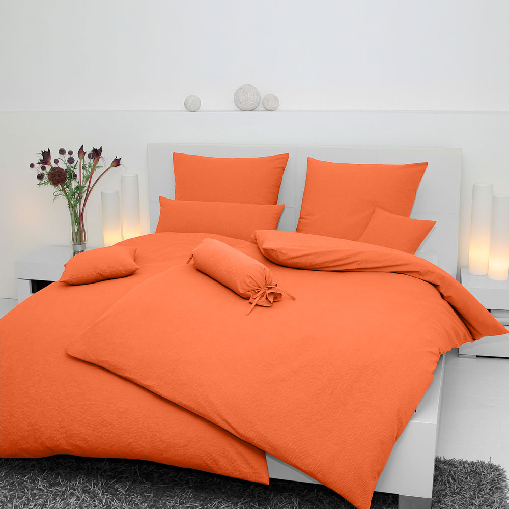 janine mako soft seersucker bettw sche piano orange g nstig online kaufen bei bettwaren shop. Black Bedroom Furniture Sets. Home Design Ideas