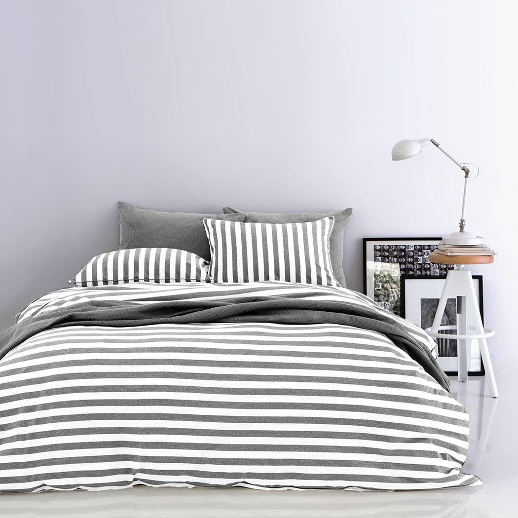 Bettwarenshop Melange Streifen Bettwasche Grau Weiss Gunstig Online