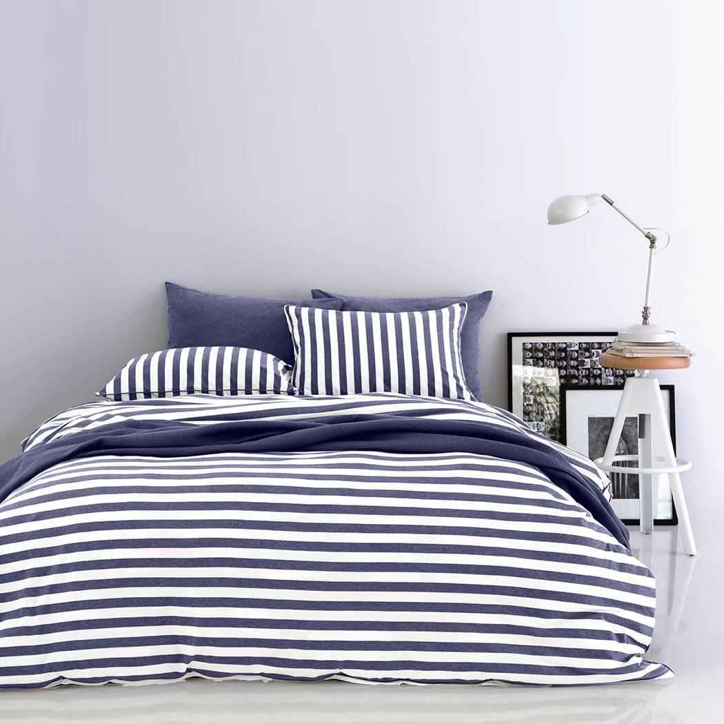 bettwarenshop melange streifen bettw sche jeans weiss g nstig online kaufen bei bettwaren shop. Black Bedroom Furniture Sets. Home Design Ideas
