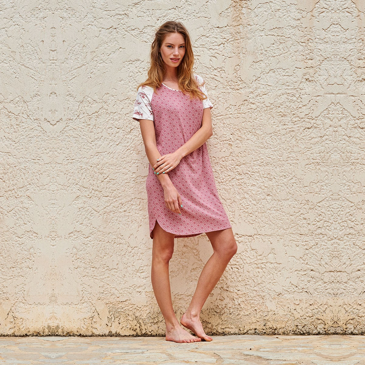 pip studio nachthemd dees leaves pink g nstig online kaufen bei bettwaren shop. Black Bedroom Furniture Sets. Home Design Ideas