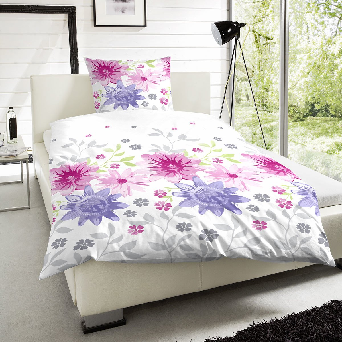 hahn perkal bettw sche blumenwiese pink g nstig online kaufen bei bettwaren shop. Black Bedroom Furniture Sets. Home Design Ideas