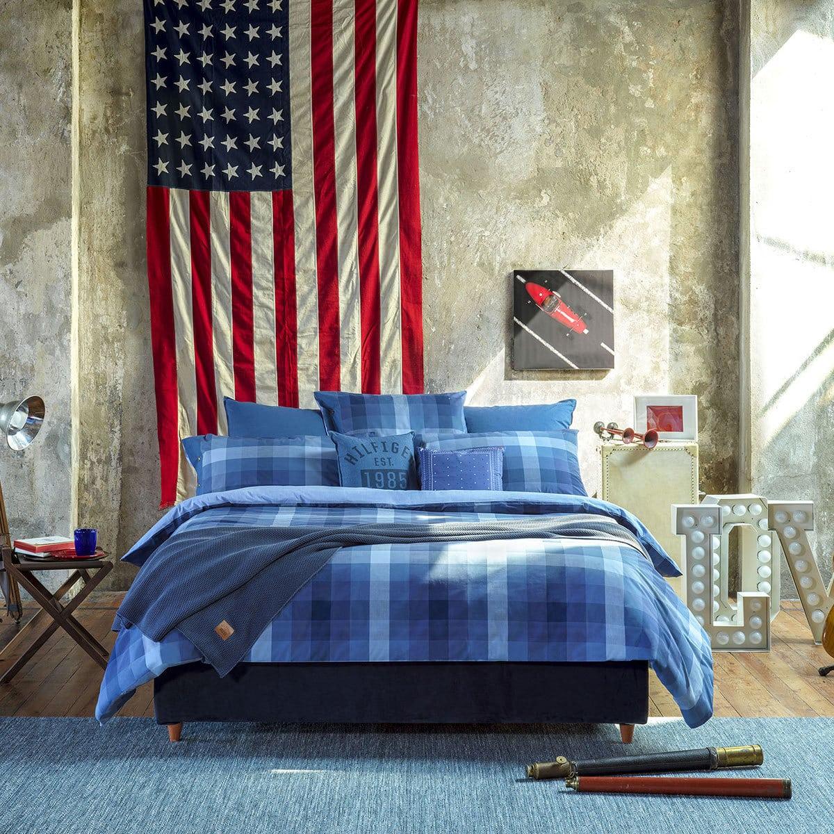 tommy hilfiger perkal bettw sche preppy look kariert denim g nstig online kaufen bei bettwaren shop. Black Bedroom Furniture Sets. Home Design Ideas